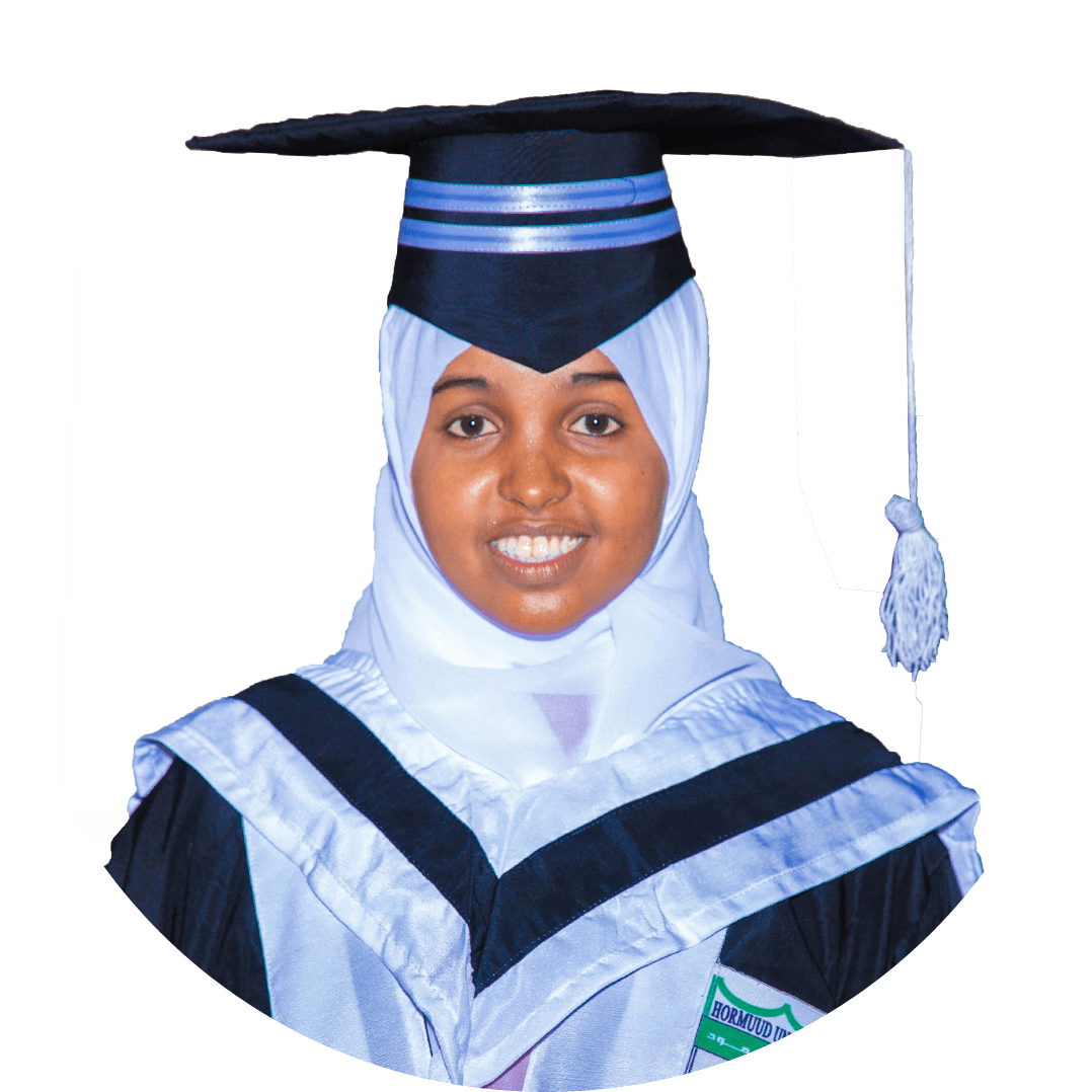 Shukri Abdullahi Abukar, Launching your career with an esteem firm like the main campus wasn't short of a dream come true and I would really like to dedicate a great part of my success to university. Hormuud being a global university not only provides you some of the finest education across the globe but also foster you to evolve as a true professional.